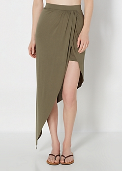 Olive Tulip Wrap Jersey Skirt