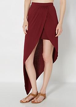 Burgundy Tulip Wrap Jersey Skirt