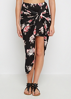 Black Rosy Knotted Split Skirt