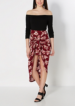 Rosy Knotted Split Skirt