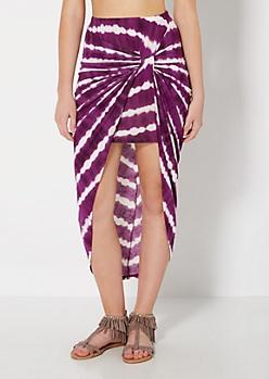 Purple Tie Dye Knotted Skirt
