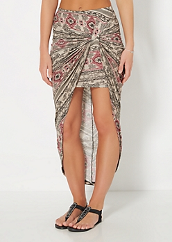 Taupe Folklore Knotted Tulip Skirt