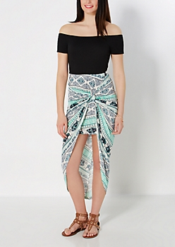 Mint Folklore Knotted Tulip Skirt