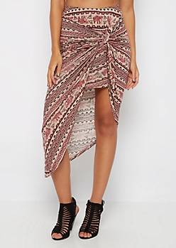 Burgundy Folklore Knotted Tulip Skirt