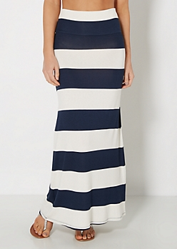 Nautical Striped Fold-Over Maxi Skirt
