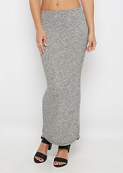 Gray Marled Ribbed Knit Midi Skirt