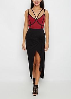 Black Tie-Front Midi Skirt