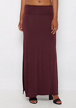 Plum Double Slit Maxi Skirt