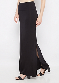 Black Double Slit Maxi Skirt