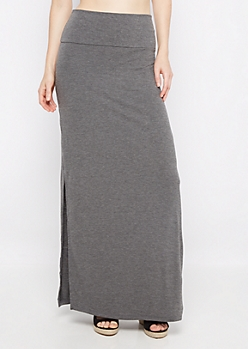 Heather Gray Double Slit Maxi Skirt