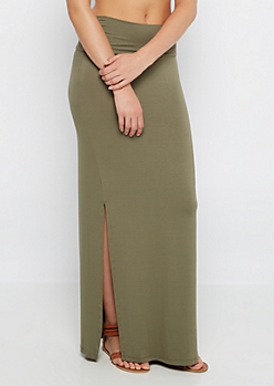 Olive Green Double Slit Maxi Skirt