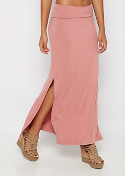 Pink Double Slit Maxi Skirt