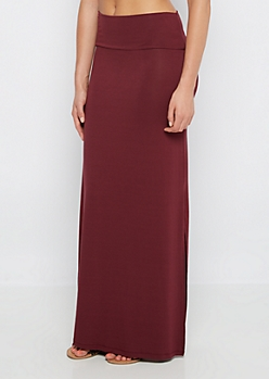 Burgundy Double Slit Maxi Skirt