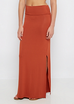 Burnt Orange Double Slit Maxi Skirt