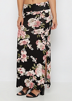Black Rosy Double Slit Maxi Skirt