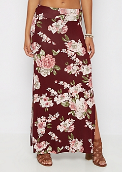 Burgundy Rosy Double Slit Maxi Skirt