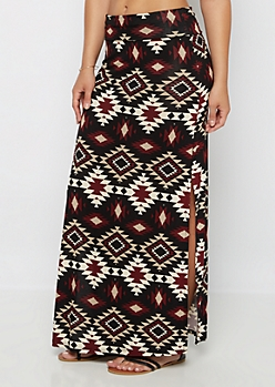 Black Southwest Double Slit Maxi Skirt