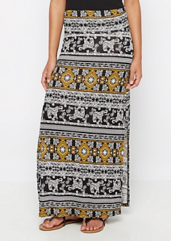 Golden Boho Double Slit Maxi Skirt