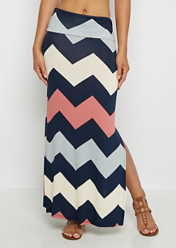 Navy & Pink Chevron Side Slit Maxi Skirt