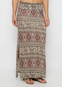 Taupe Boho Mix Double Slit Maxi Skirt