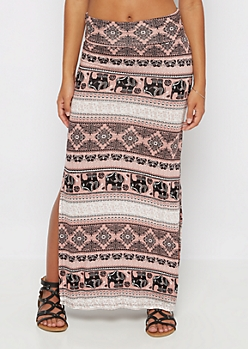 Pink Boho Mix Double Slit Maxi Skirt