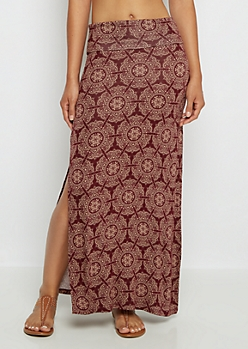 Burgundy Medallion Side Slit Maxi Skirt