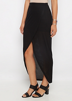 Black Ribbed Knit Tulip Maxi Skirt
