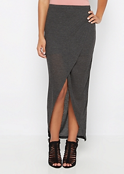 Charcoal Ribbed Knit Tulip Maxi Skirt