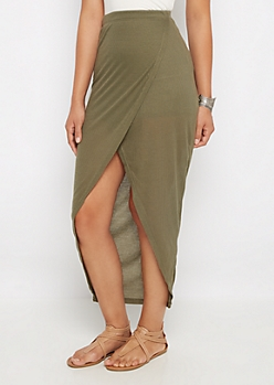 Olive Ribbed Knit Tulip Maxi Skirt