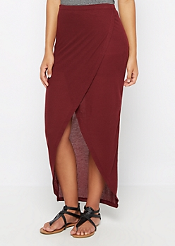 Burgundy Ribbed Knit Tulip Maxi Skirt