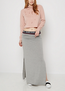 Heather Gray Double Split Maxi Skirt