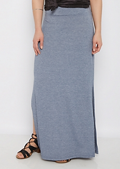 Heathered Blue Double Split Maxi Skirt