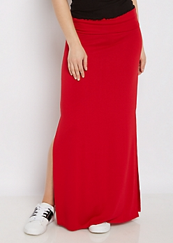 Red Double Split Maxi Skirt