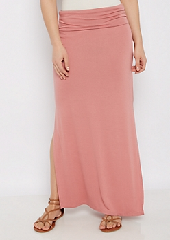 Dusty Pink Double Split Maxi Skirt