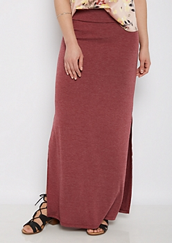 Heathered Burgundy Double Split Maxi Skirt