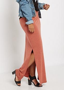 Burnt Orange Double Split Maxi Skirt