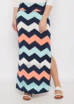 Block Chevron Side Slit Maxi Skirt