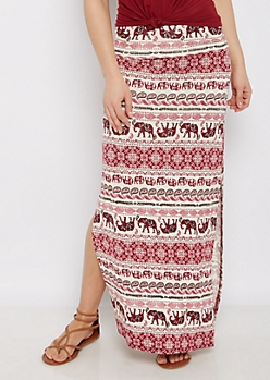 Burgundy Elephant Side Slit Maxi Skirt
