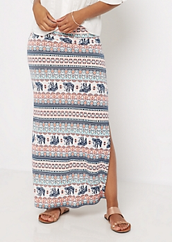 Neon Coral Elephant Side Slit Maxi Skirt