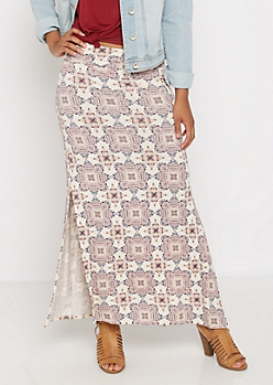 Boho Medallion Side Slit Maxi Skirt