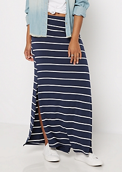 Navy Striped Side Slit Maxi Skirt