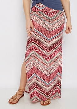 Boho Chevron Side Slit Maxi Skirt