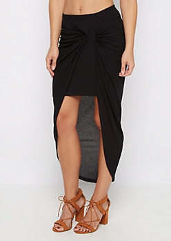 Black Knotted Rib Knit Midi Skirt