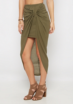 Olive Knotted Rib Knit Midi Skirt