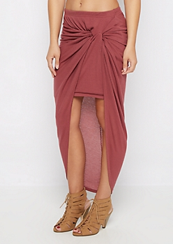 Mauve Knotted Rib Knit Midi Skirt