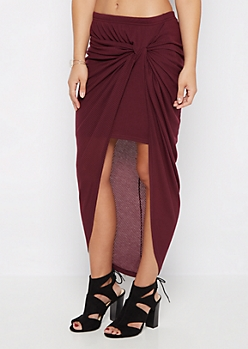 Plum Knotted Rib Knit Midi Skirt