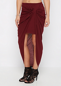 Burgundy Knotted Rib Knit Midi Skirt