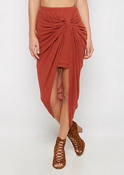 Burnt Orange Knotted Rib Knit Midi Skirt