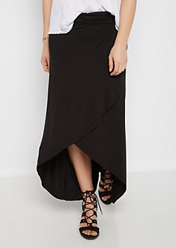 Black Tulip Wrap Skirt