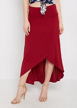 Burgundy Jersey Tulip Skirt